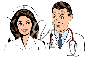 doctor and nurse, illustration in vector format