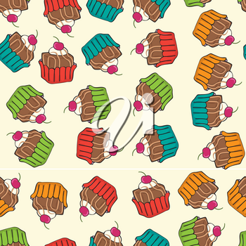 sweet seamless cupcakes pattern, vector format