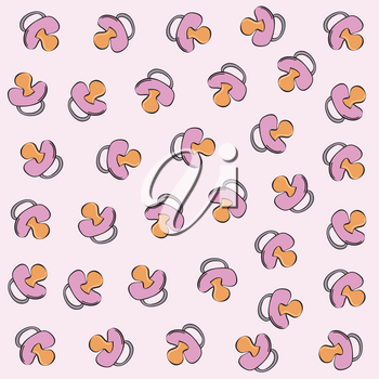 vector seamless pattern with pink  baby pacifier