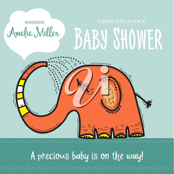 baby shower card template with funny doodle elephant, vector format
