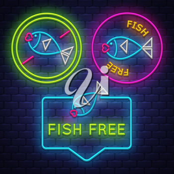 Fish Free badge collection . Allergy sign. Neon sign. Vector