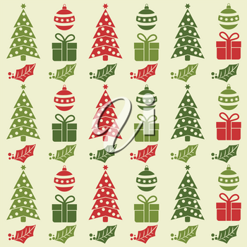 Christmas seamless pattern with  balls, Christmas trees, gifts and mistletoe. Christmas background. Christmas wrapping. Flat design