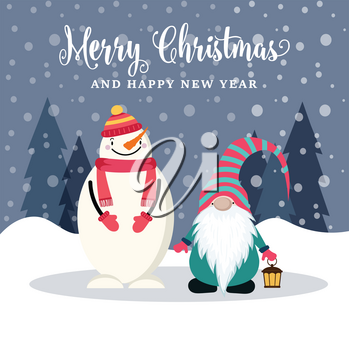 Beautiful flat design Christmas card with snowman and gnome . Christmas poster. Vector