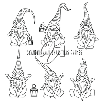 Chrismas gnomes collection for coloring. Isolated items. Scandinavian Christmas