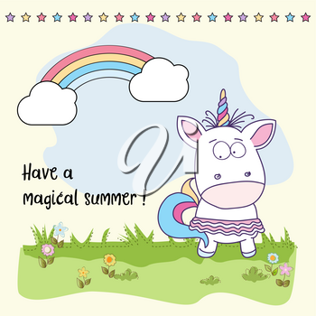 Have a magical summer. Cool poster with unicorn girl