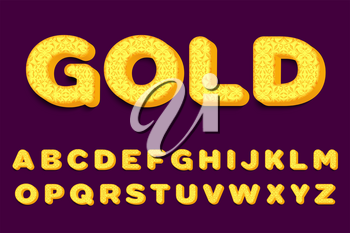 Luxury 3D gold Alphabet Letters, Numbers and Symbols. Delicate Typography . Vector