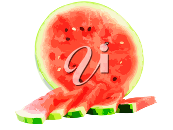 Cutting of watermelon with juicy slice. Vector