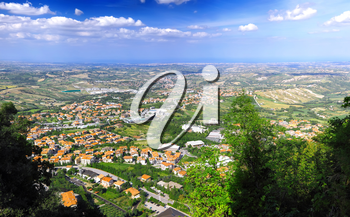 San-Marino Bird-eye view. Italy. Panorama.