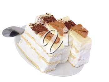 Sponge cakes with cup of coffee on plate with fruit-juice decoration . Isolated