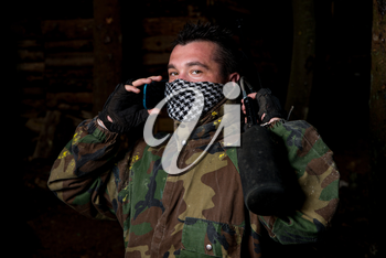 Paintball player posing for camera
