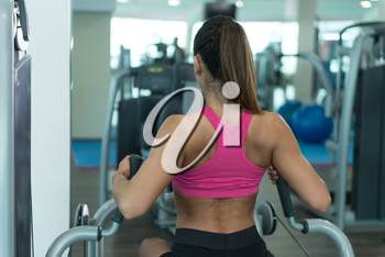 Young Fitness Woman Working Out Back On Machine In Fitness Center