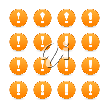 Royalty Free Clipart Image of a Set of Exclamation Mark Icons