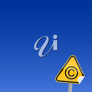 Royalty Free Clipart Image of a Copyright Icon on a Sign