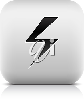Stone web button with high voltage sign. White rounded square shape with reflection and shadow on white background