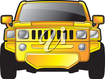 Royalty Free Clipart Image of a Yellow Vehicle
