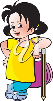 Royalty Free Clipart Image of a School Girl