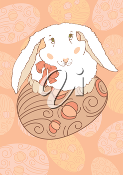 White Rabbit with Easter Egg, postcards. Vector design
