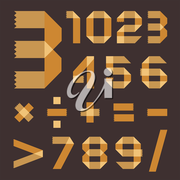 Font from yellowish scotch tape - Arabic numerals (0, 1, 2, 3, 4, 5, 6, 7, 8, 9).