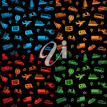 Seamless black background, transport icons. Wrapping paper