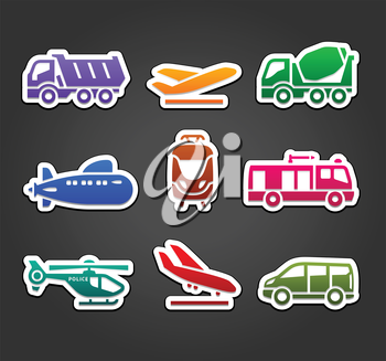 Set of stickers, transport color pictograms, vector illustration