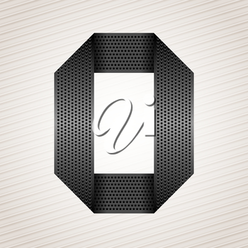 Font from folded metallic ribbon - Latin letter O. Vector 10eps