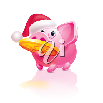 Christmas  piggy bank with a coin