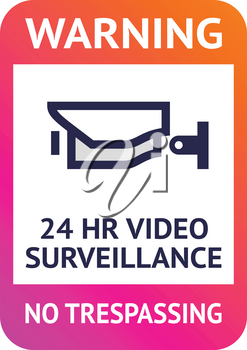 Video surveillance 24hr, cctv sticker. Vector illustration for print.