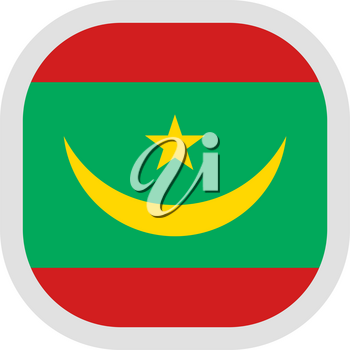 Flag of Mauritania after august 11, 2017. Rounded square icon on white background, vector illustration.