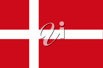 Flag of Denmark. Rectangular shape icon on white background, vector illustration.