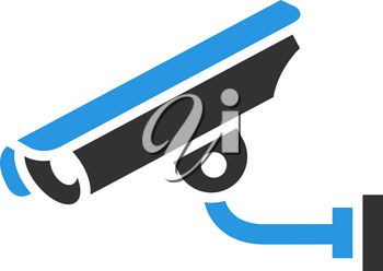 Video surveillance camera, gray blue vector illustration
