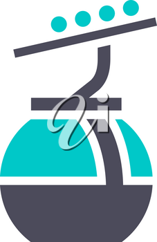 Cableway icon, gray turquoise icon on a white background