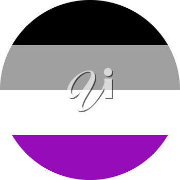Asexual pride flag, round shape icon on white background