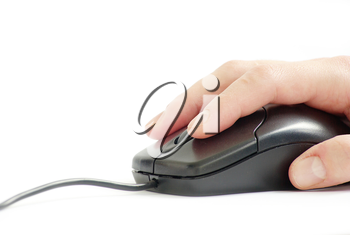 computer mouse in hand isolated on a white background