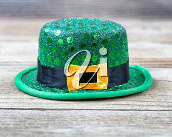 Lucky green hat for St Patrick in close up view