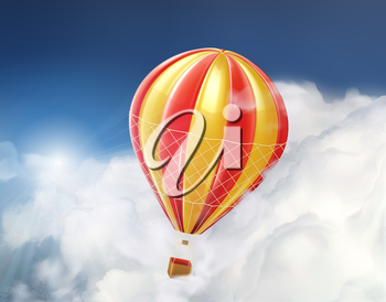 Air balloon in the clouds, vector illustration