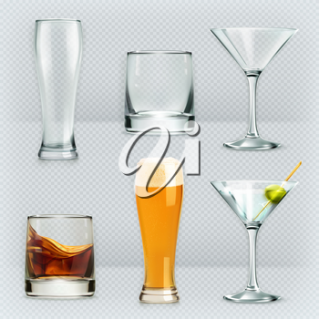Glasses, alcohol drink vector icon set