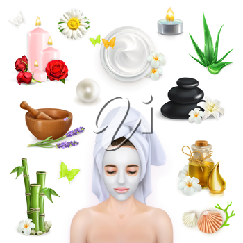 Spa, beauty and care vector icons set