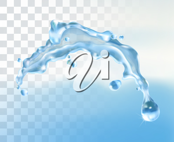 Water splash, vector element with transparency