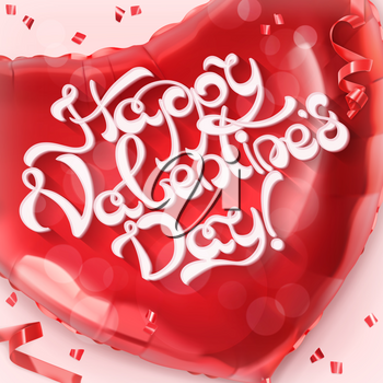 Happy Valentin Day. Red heart toy balloon 3d vector
