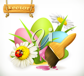Easter eggs and brush with paint. 3d vector icon