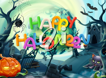 Happy Halloween. 3d vector background