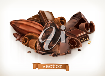 Chocolate bars and pieces, shavings, cocoa fruit, 3d vector illustration