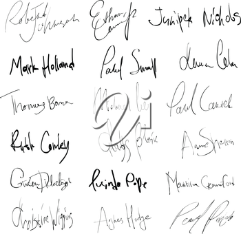Signatures of mans and womans abstract names. On transparent background, vector EPS8
