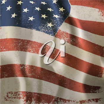 Waving vintage American flag textured background. With dry blood spots. Vector, EPS10