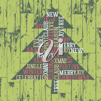 Xmas tree words_composition. Vintage styled illustration, EPS10.