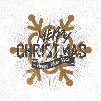 Merry Christmas Vintage Monochrome Lettering with snowflake symbol on background
