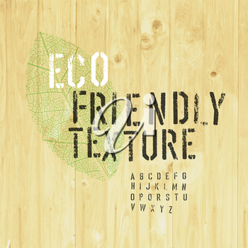 Eco Friendly Design Template (Texture and Stencil Alphabet and Leaf Symbol)
