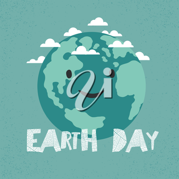 Earth Day Poster. Earth Illustration.  Celebration Card template