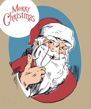 Hand drawn Smiling and liked Santa Claus illustration. Monochrome vector drawings.
