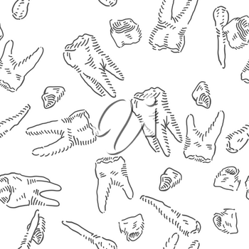 Teeth Seamless vector doodles background. Medical theme seamless pattern.